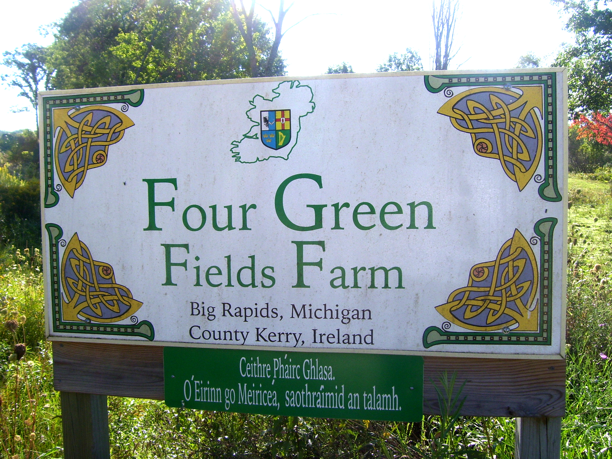 Four Green Fields Enterance Sign